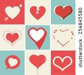 heart icons set  ideal for... | Shutterstock .eps vector #256845580