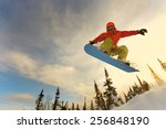 snowboarder jumping through air ... | Shutterstock . vector #256848190