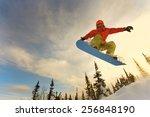 snowboarder jumping through air ... | Shutterstock . vector #256848190
