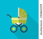 green baby pram.  flat icon... | Shutterstock .eps vector #256863259