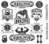 set of monochrome fitness... | Shutterstock .eps vector #256864993