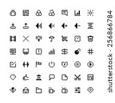 set of black web icons in pixel ...
