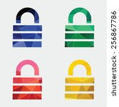 lock icon abstract triangle... | Shutterstock .eps vector #256867786