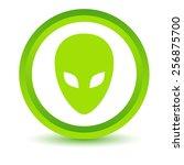 green alien icon on a white... | Shutterstock .eps vector #256875700