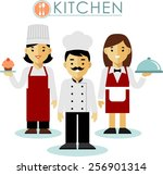 chef cook man and woman ... | Shutterstock .eps vector #256901314