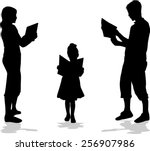 silhouette of a family reading... | Shutterstock .eps vector #256907986
