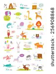 cute vector zoo alphabet with... | Shutterstock .eps vector #256908868