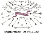 hand drawn set of floral and... | Shutterstock .eps vector #256911220