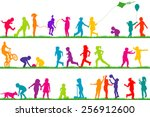 set of colored children... | Shutterstock .eps vector #256912600