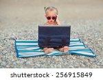 a cute little happy girl in... | Shutterstock . vector #256915849