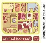 farm animals icons children's... | Shutterstock .eps vector #256916230