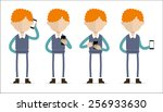 ginger man holding mobile... | Shutterstock .eps vector #256933630