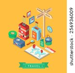 isometric design style modern... | Shutterstock .eps vector #256936009
