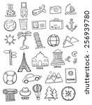 set of travel doodles | Shutterstock .eps vector #256939780