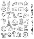 set of travel doodles | Shutterstock .eps vector #256939780