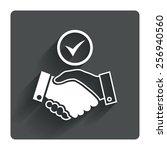 tick handshake sign icon....