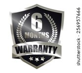 black metallic 6 month warranty ... | Shutterstock . vector #256957666