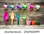 Colorful Gardening Tools On...