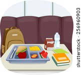 Stock vector illustration of a tray of school lunch sitting in the middle of the cafeteria 256960903