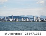 ocean view of coast city santos ... | Shutterstock . vector #256971388
