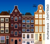 street of abstract old houses.... | Shutterstock .eps vector #256975060