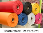 colorful material fabric rolls  ... | Shutterstock . vector #256975894