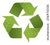 the iconic recycle logo with 3d ... | Shutterstock .eps vector #256976530