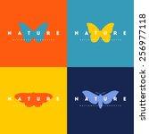 butterfly. set of logo design... | Shutterstock .eps vector #256977118