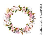 vintage frame   wreath in boho... | Shutterstock . vector #256986064