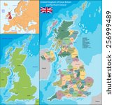 map of the united kingdom of... | Shutterstock .eps vector #256999489