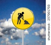 construction sign with sky in... | Shutterstock .eps vector #257001703