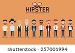 Hipster style bearded man, character set collection-vector illustration | Shutterstock vector #257001994