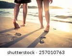 couple of lovers walking on the ... | Shutterstock . vector #257010763
