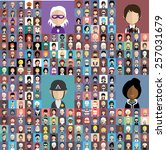 set of people icons in flat... | Shutterstock .eps vector #257031679