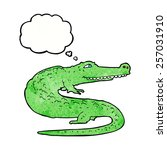cartoon crocodile with thought... | Shutterstock .eps vector #257031910
