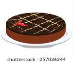 three chocolate cake decorated... | Shutterstock . vector #257036344