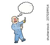 cartoon mechanic with thought... | Shutterstock .eps vector #257039914