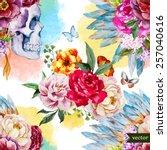 watercolor  skull  flowers ... | Shutterstock .eps vector #257040616