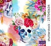 Watercolor  Skull  Flowers ...