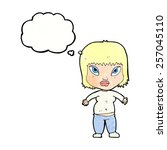 cartoon overweight woman with... | Shutterstock .eps vector #257045110