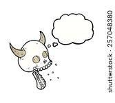 cartoon spooky skull with...   Shutterstock .eps vector #257048380