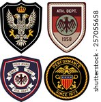 set of police medal badges and... | Shutterstock .eps vector #257055658