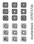 flat icon set. grey  black and...