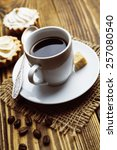 Small photo of ���¡ake and cup of coffee on the wooden table