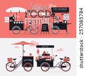 street food festival event... | Shutterstock .eps vector #257085784