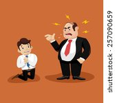 boss screams on worker | Shutterstock .eps vector #257090659