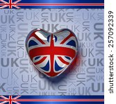 Vector. Glass Heart With Flag...