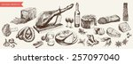 foodstuffs set of hand drawn... | Shutterstock .eps vector #257097040