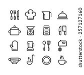 set of clean line icons... | Shutterstock .eps vector #257127160