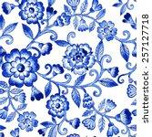 vector floral watercolor... | Shutterstock .eps vector #257127718